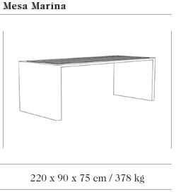 Technische tekening van de Prima Marina tafel uit de collectie van Escofet 1886