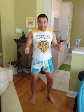 Photo: andy wearing my shorts. i'm not sure what that says about either of us.