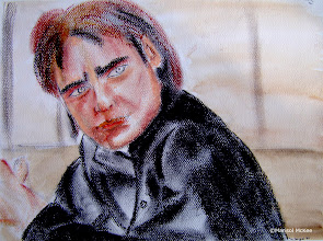 Photo: Benecio Del Toro. 12 in x 9 in. Oil pastels and India ink on textured 140 lb paper. Created back in 2001. ©Marisol McKee