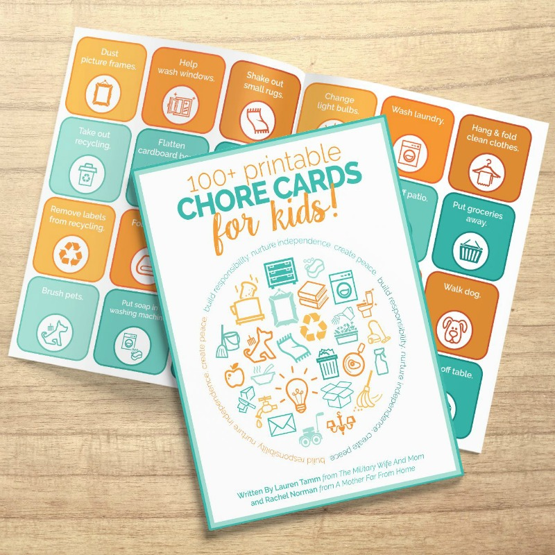 Printable chore cards for kids to teach responsibility and accountability