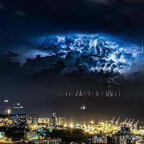 Bay Storm by Idan Presser - Landscapes Weather ( lightning, cranes, bay, blue, pwcfoulweather, stacking, dark, night, storm, composite )