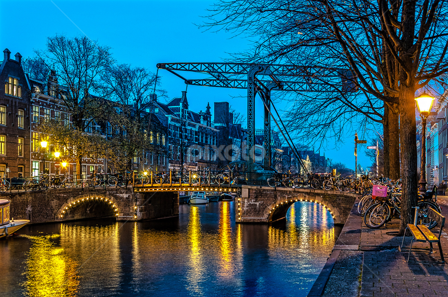 The Old Bridge. by Jesus Giraldo - Buildings & Architecture Bridges & Suspended Structures ( waterscape, colors, textures, street, amsterdam, beauty, city, colorsreflections, lights, amazing, urban, vibrations, blue, night, harmony, bridge )