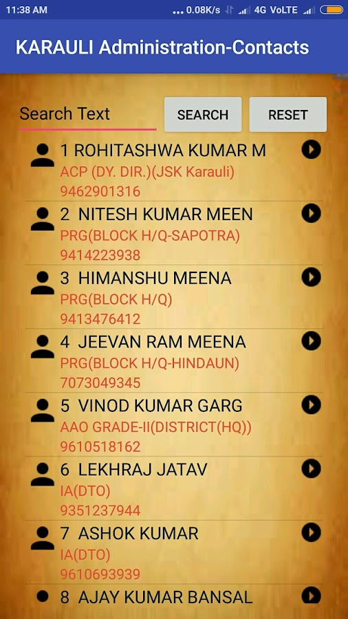 KARAULI ADMINISTRATION CONTACTS- screenshot