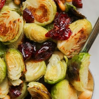 Roasted Brussels Sprouts with Pine Nuts and Cranberries.