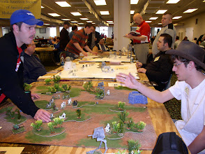 Photo: Scenerio 10: Raid on Endor - Jason Bostwick left faces of against Alex Bostwick right.  These two cousins would emerge as the top two players by the end of the event.