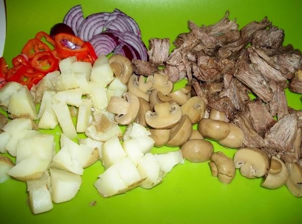 Prepare your veggies and chunk roast.