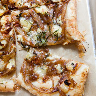 Caramelized Onion Tart with Gorgonzola and Brie.