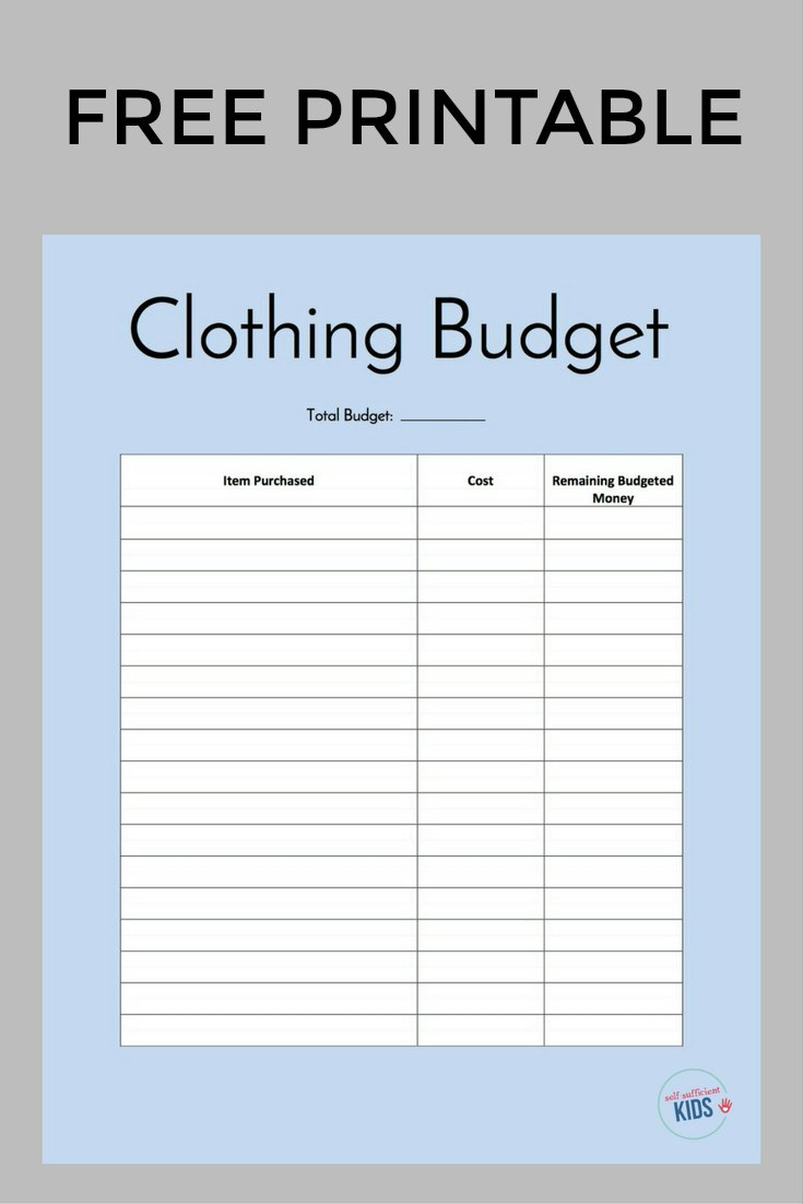Free printable clothing budget sheet for teens. Help teens learn to budget their clothing allowance with this sheet.