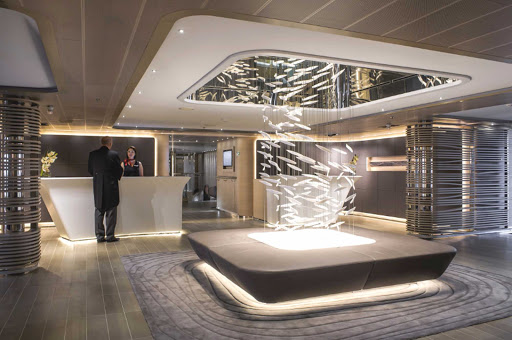 Ponant-LeSoleal-reception.jpg - The Reception area of Le Soleal provides a meeting place as well as an informational hub for your voyage.