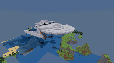 "Photo: a spaceship imported (?) into ""minetest"" (!)"