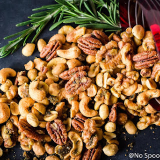 Savory & Spicy Rosemary Roasted Mixed Nuts.