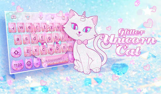 Pink Glitter Unicorn Cat Keyboard Theme for Girls for PC