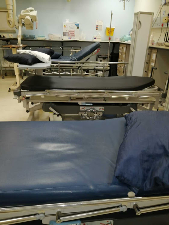 Nurses claim this room is supposed to have two beds but has three beds earmarked for Covid-19 patients.