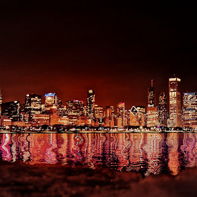 swirly by Fraya Replinger - City,  Street & Park  Skylines ( chicago skyline, water, chicago, nightscape, city, , breast cancer awareness, pink, lighting, lights, mood factory, hot pink, mood, scents, color, mood-lites, sassy, brighten our world )