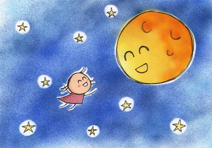Như tâm sự buồn vui, cậu bé kể chuyện cho trăng nghe :)