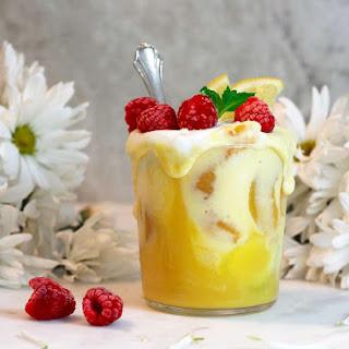 Aquafaba Mango Peaches Lemon Smoothie.