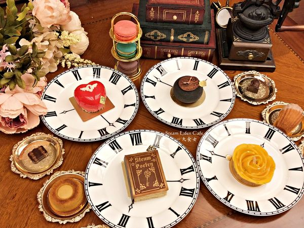 Steam E;den Café-古書千層、時光流逝等造型甜點!好吃又好拍!鹹食也很棒! 中山站咖啡廳/台北咖啡廳/中山站下午茶/中山站甜點