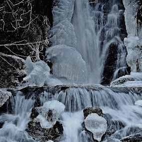 WINTER WATERFALL by Gary Colwell - Landscapes Waterscapes ( canada, new brunswick, dickson, water falls,  )