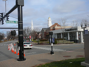 Photo: Only Crate&Barrel is part of BlueBack Square beyond Crate&Barrel are  'Webster Walk', Town Library, Congregational Church