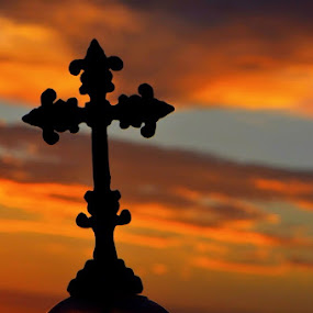 For God So Loved The World by Sandra Millsap - Artistic Objects Other Objects ( sky, silhouette, colors, sunset, yard ornament, brilliant, cross )