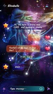 GO SMS PURPLE STARRY SKY THEME - náhled