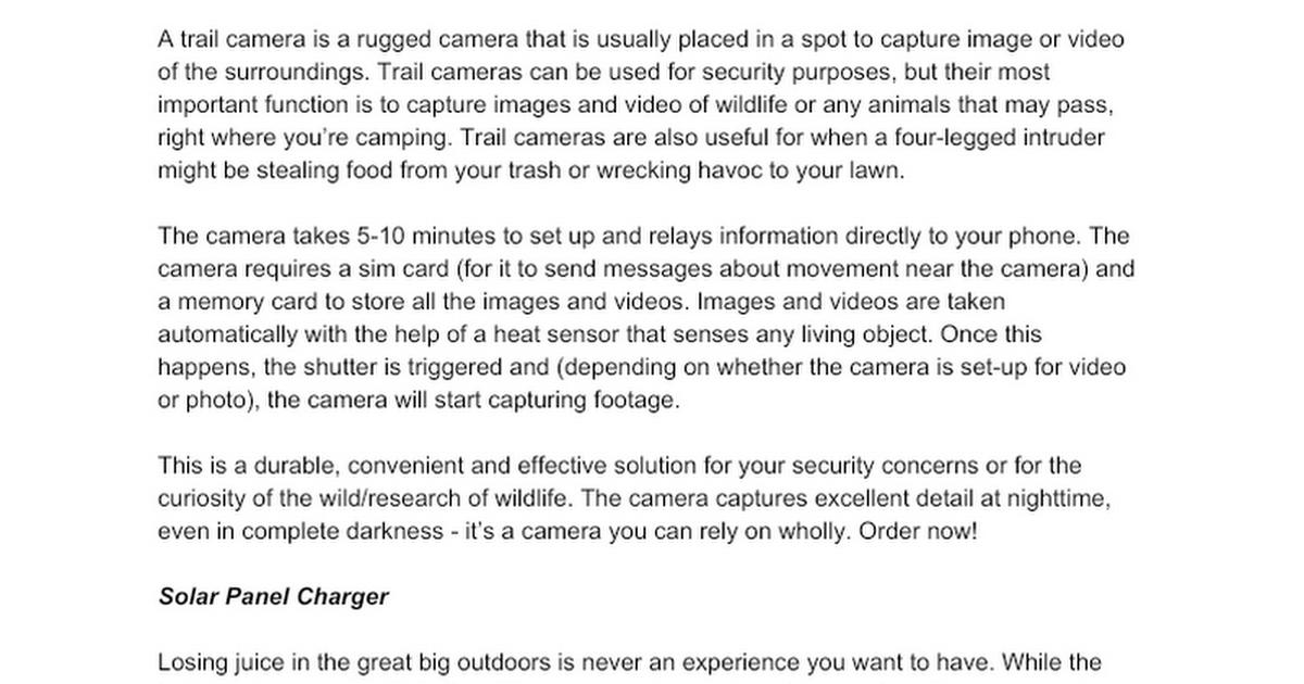 (Product Descriptions) Camera Equipment