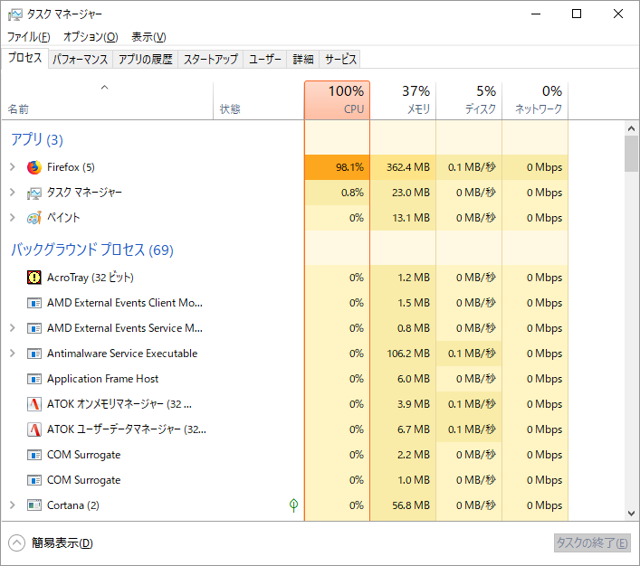 CPUのリソースを独り占めするFirefox