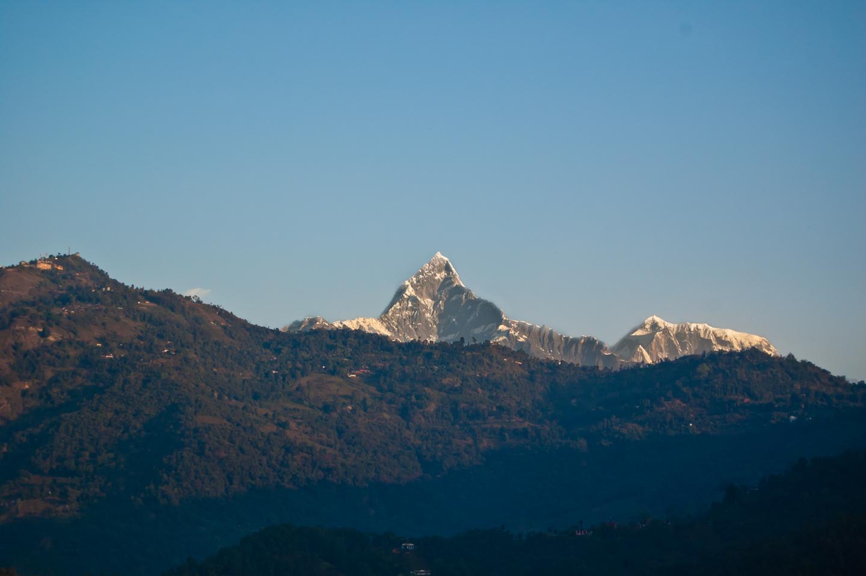 Photo: Mt. Fishtail (Machhapuchhre) and Annapurna IV, seen from Pokhara, Nepal.