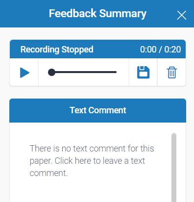 Audio recording capability within Turnitin Feedback Studio