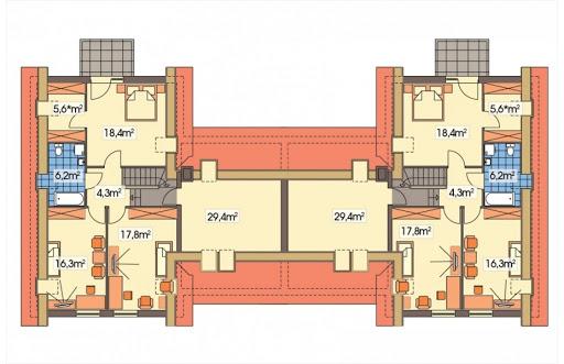 Cyprys bliźniak wersja B 2G, 1 ściana między segm. - Rzut poddasza