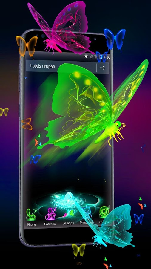 3D Neon Butterfly Theme- screenshot
