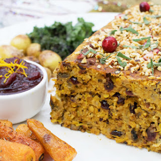 Hazelnut & Orange Nut Roast with Cranberry Sage Sauce [vegetarian]