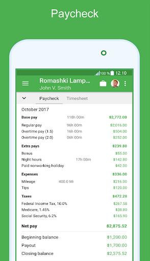Green Timesheet - shift work log and payroll app by ProfAutomation