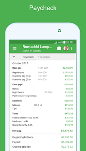 Green Timesheet - shift work log and payroll app ( - náhled