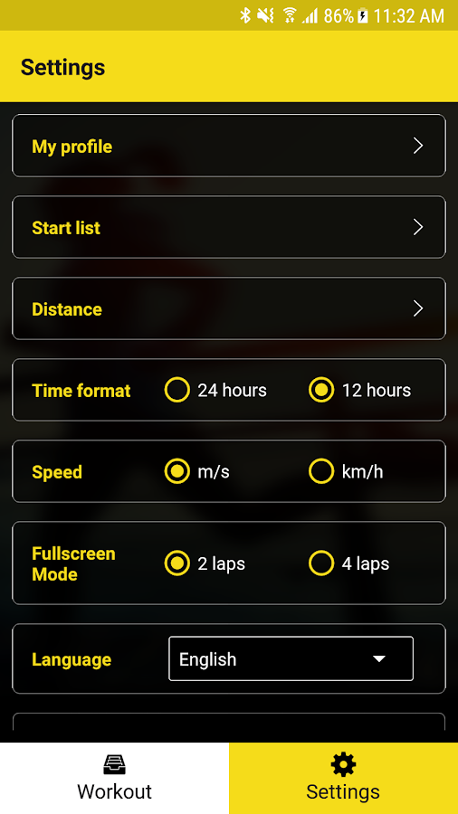 MyFreelap- screenshot