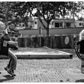 My Girls by Scott Hemenway - Babies & Children Children Candids ( b&w, black and white, swings, play, children, kids )