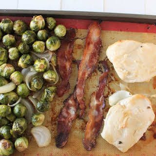 Maple Bacon Chicken and Brussels Sprouts Sheet Pan Dinner.
