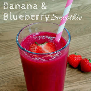 Strawberry Banana Blueberry Smoothie.