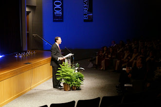 Photo: Welcome by John Morris, Director of the Ronald W. Reagan Society of Eureka College