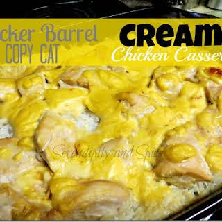 Cracker Barrel Copy Cat Creamy Chicken and Rice Casserole.