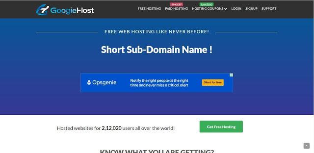 Homepage of googiehost.com