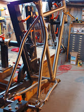 Photo: I added a bit of bend to the seat stays for extra clearance and mitered everything up.
