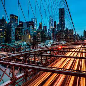 Brooklyn Bridge  by John Sinclair - City,  Street & Park  Skylines ( brooklyn bridge, skyline, new york,  )