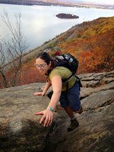 Photo: Petra trying to not break her neck on Breakneck Ridge