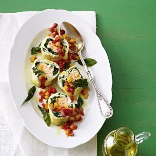Salmon, Spinach and Ricotta Stuffed Pasta.