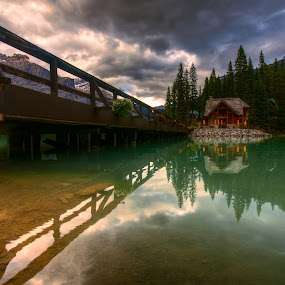 Emerald Lake by Don Guindon - Landscapes Waterscapes ( mountains, park, emerald, sunset, yoho national park, emerald lake, bridge, lodge )