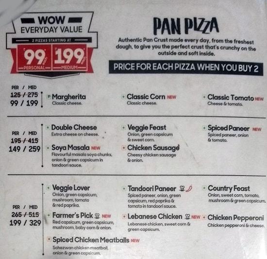 Pizza Hut menu 1