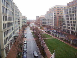 """Photo: Reverse view, from my window to where I was shooting (see white """"X""""). Note the distortion of the cell phone lens; the building at left appears slanted. I assure you that it isn't. The City Council would never allow that. (NOTE: I AM NO LONGER IN THIS OFFICE. JOB CHANGES.)"""