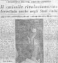 Photo: Articolo giornale dell'epoca sul brevetto  dell'Ingegnere Nino Ciancitto