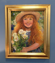 """Photo: """"Flower Girl"""" Oil painting by Sydelle Sher Art exhibition at Weissman Center"""